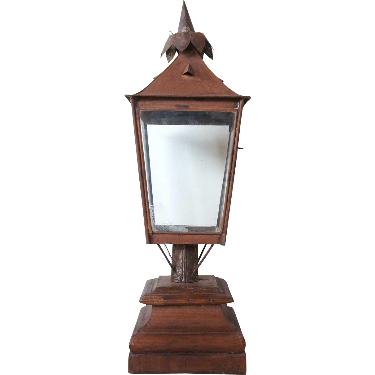 Large Anglo Indian Toleware Post Lantern on Stand