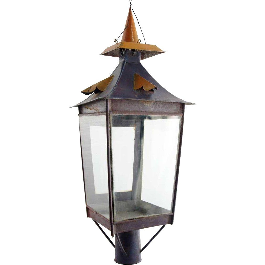 Anglo Indian Painted Toleware Post Lantern