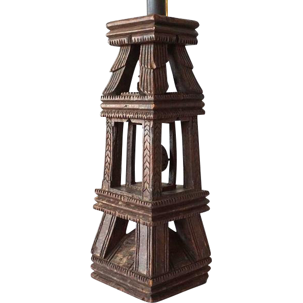 Antique Indian Folk Art Teak Architectural Element as a Table Lamp
