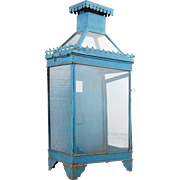 Anglo Indian Blue Painted Toleware Wall Lantern
