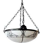 American Bayley & Sons Equalite White Leaded Glass Dome Shade Pendant Light