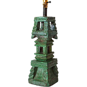 Antique Indian Painted Teak Architectural Carving as a Table Lamp