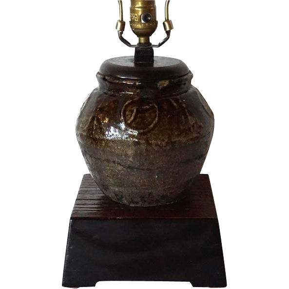 Antique Chinese Tonglu Zhejiang Pottery Sugar Jar as a Table Lamp