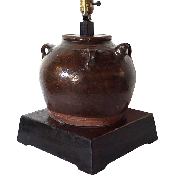 Antique Chinese Pottery Water Urn as a Table Lamp