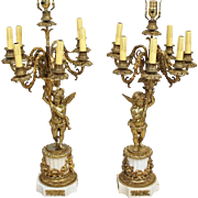 Pair of French Louis XVI Style Bronze Seven-Light Candelabra Table Lamps