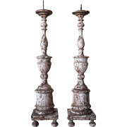 Pair of Indo-Portuguese White Painted Teak Candlesticks