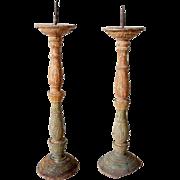 Pair of Indo-Portuguese Teak Candlesticks