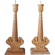Pair of Indo-Portuguese Gilt Painted Teak Candlesticks