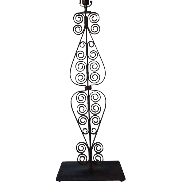 Victorian Forged Iron Stairway Baluster Repurposed as a Table Lamp