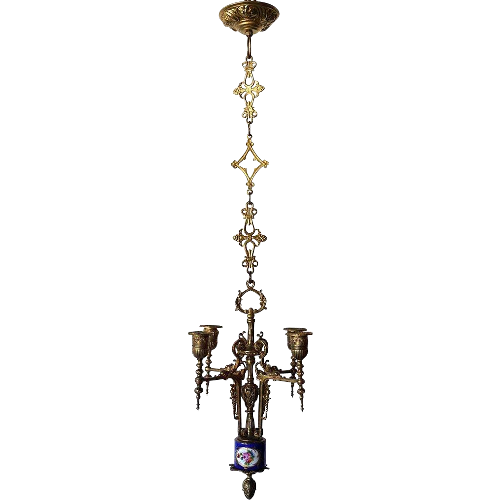 Small French Brass and Porcelain Four-Light Chandelier