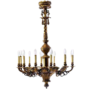 Large Danish Gilt Bronze 12-Light Chandelier
