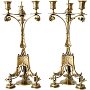 Pair of French Etruscan Style Brass Three-Light Candelabra