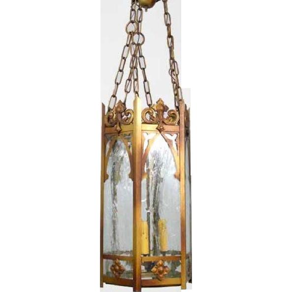 Large American Gothic Style Metal Hanging Hall Lantern