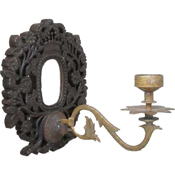 Indo-Portuguese Goan Teak Mirrored One-Arm Wall Candle Sconce