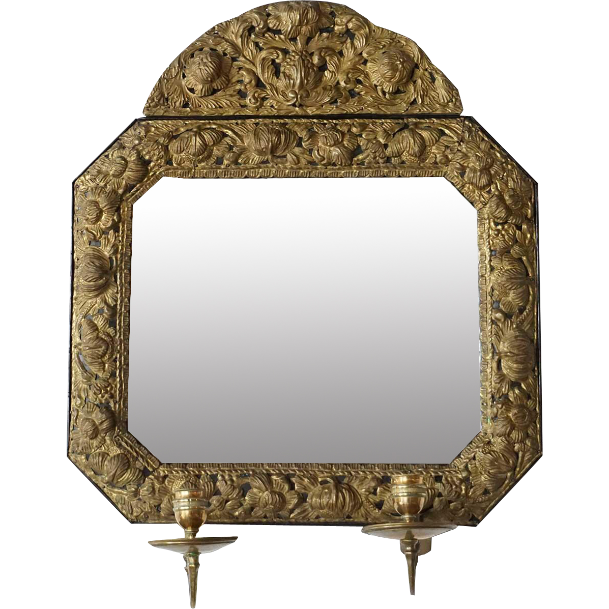 Swedish Louis XIV Style Brass Repousse Two-Candlearm Mirror