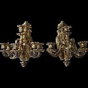 Pair of French Napoleon III Gilt Bronze Six-Light Sconces