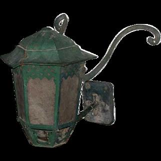 Green Painted Brass Bracket Exterior Wall Lantern