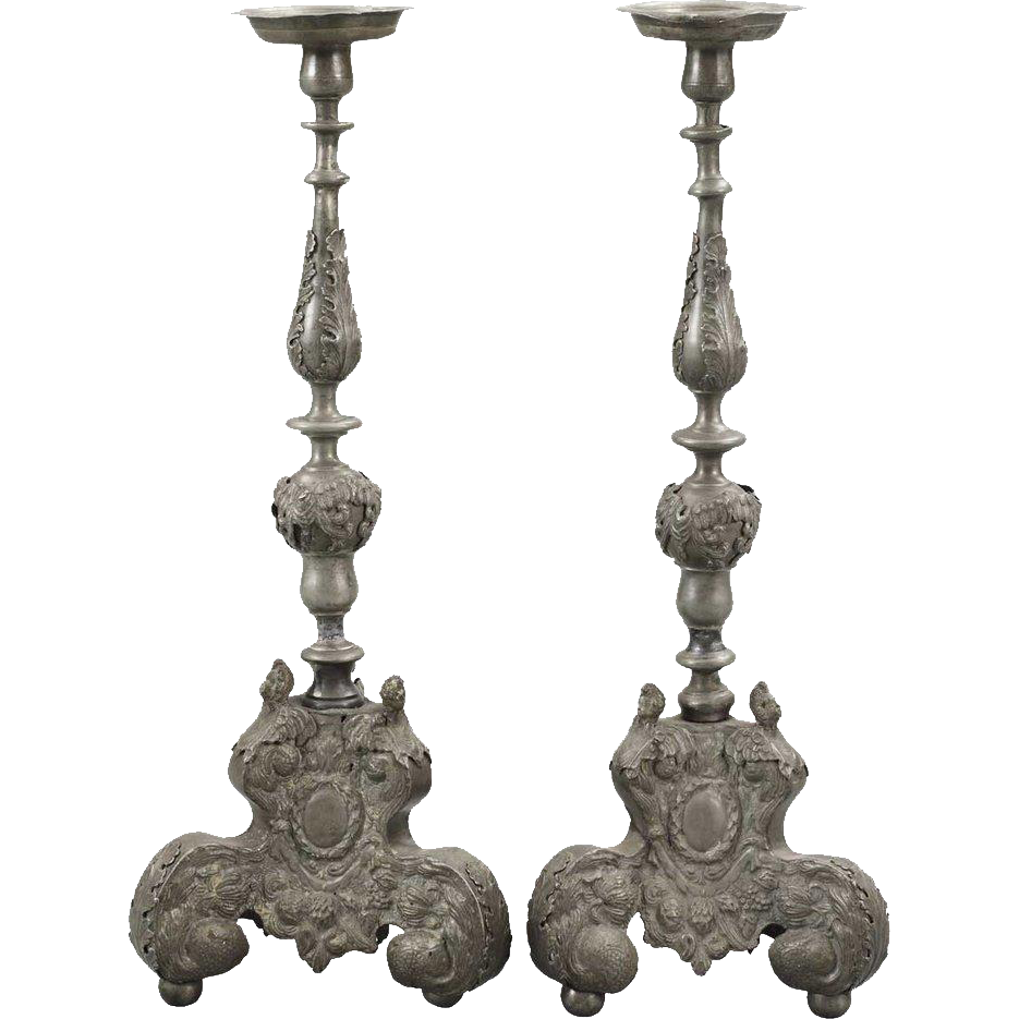 Pair of Dutch Baroque Style Pewter Candlesticks
