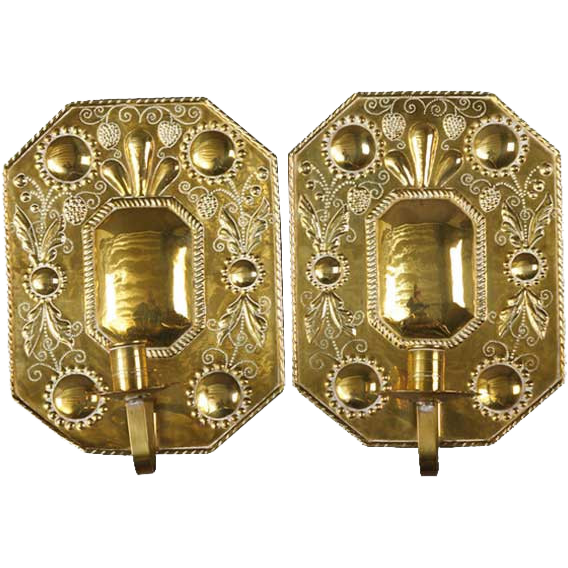 Pair of Swedish Punched Brass Gustavian Style One-Light Candle Sconces