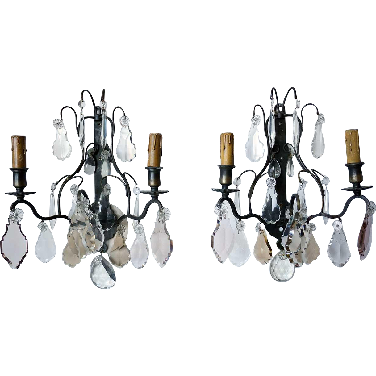 Pair of Small French Louis XV Style Brass and Crystal Two-Light Sconces