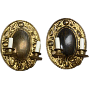 Pair of Swedish Oval Brass Repousse Two-Light Wall Sconces