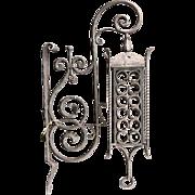 Danish Gothic Revival Wrought Iron Bracket Lantern