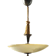 Swedish Art Deco Bronze Mounted Glass Ceiling Light/Plafonnier