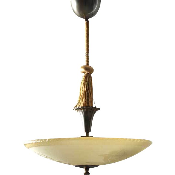 swedish art deco bronze mounted glass ceiling light. Black Bedroom Furniture Sets. Home Design Ideas