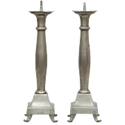 Large Pair of Pewter Candlesticks