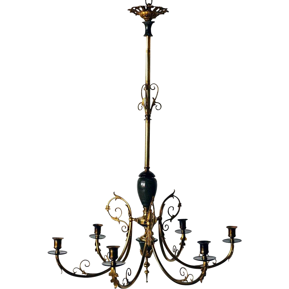 Swedish/Russian Louis XVI Revival Bronze Six-Candlearm Chandelier