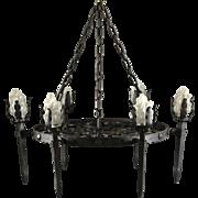 Spanish Francisco Gomez Medieval Style Wrought Iron Six-Light Chandelier