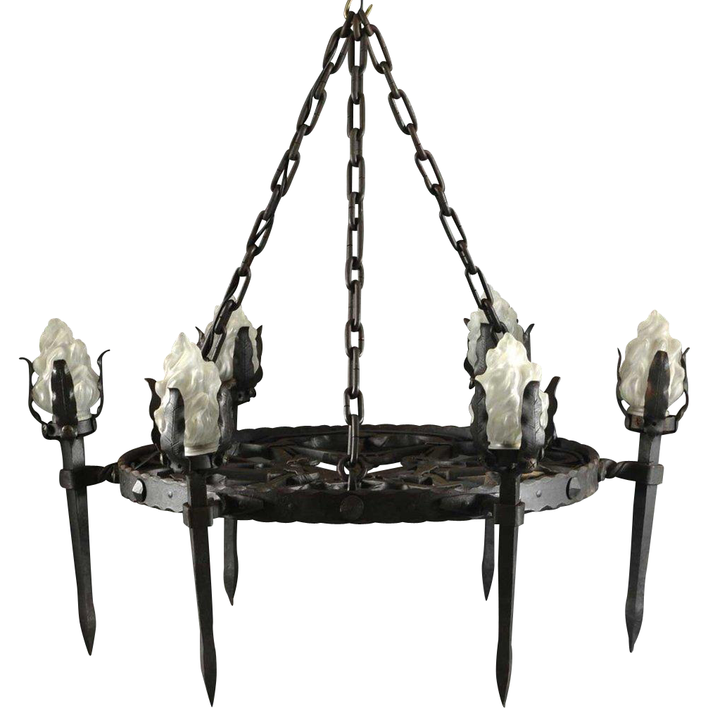 Spanish Francisco Gomez Medieval Style Wrought Iron Six-Light Chandelier