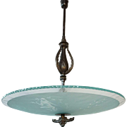 Swedish Art Deco Brass and Etched Glass Bowl Ceiling Pendant Light