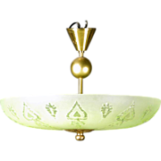Swedish Art Deco Glass Bowl and Brass Ceiling Pendant Light