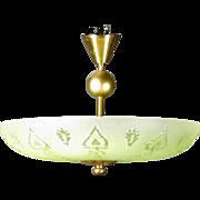 Swedish Art Deco Glass Bowl and Brass Ceiling Pendant Light
