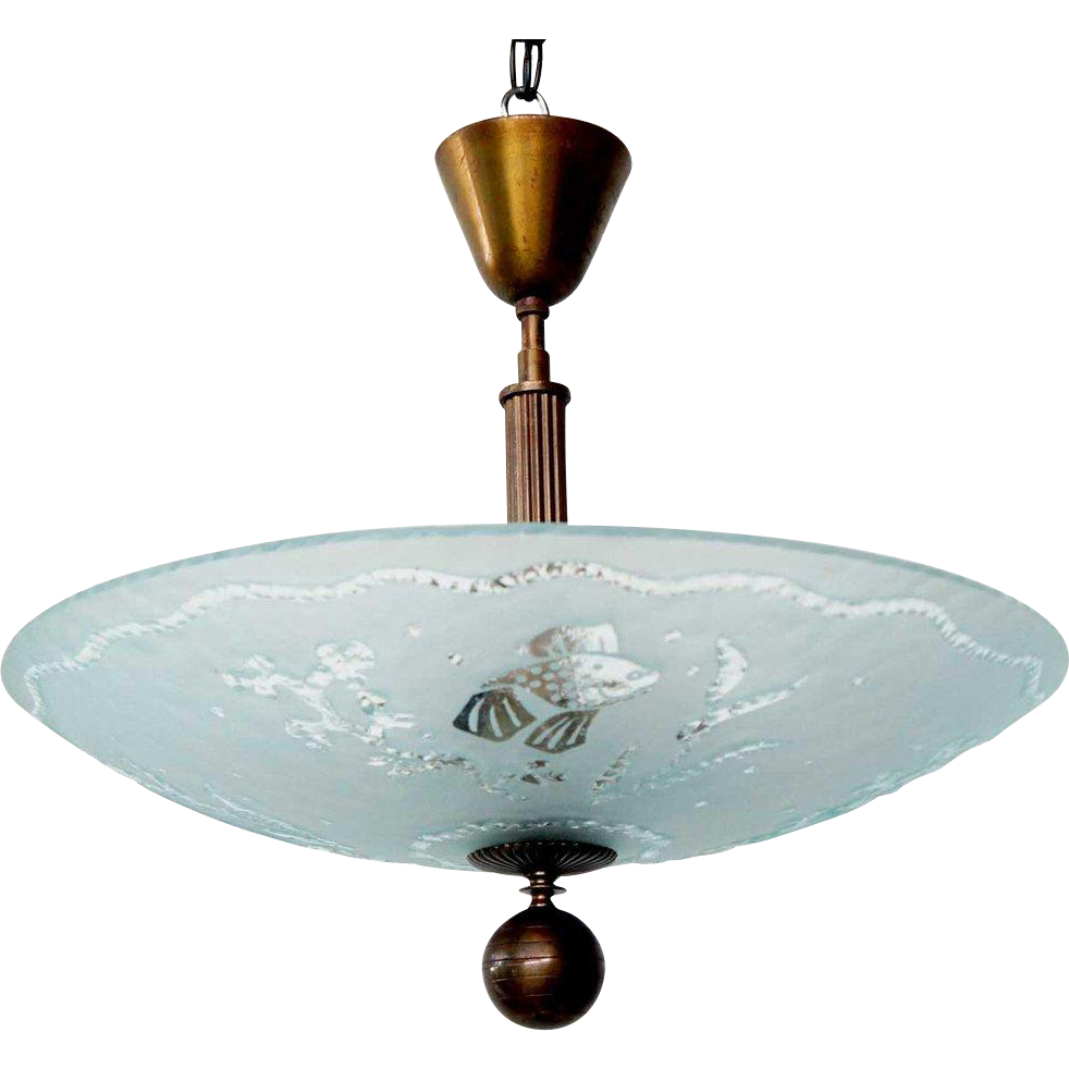Swedish Art Deco Etched Glass Bowl and Nickel Plate Pendant Light