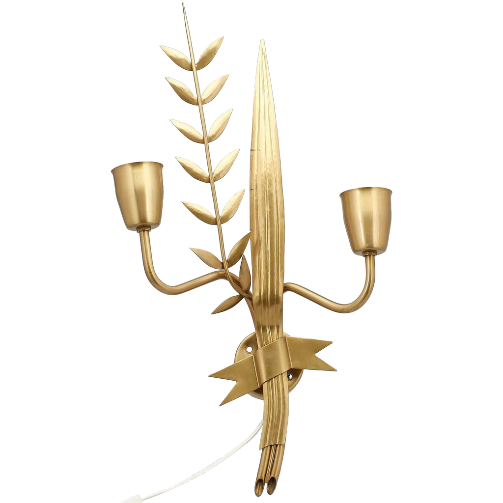 French Art Deco/Modern Brass Two-Arm Olive Branch Sconce