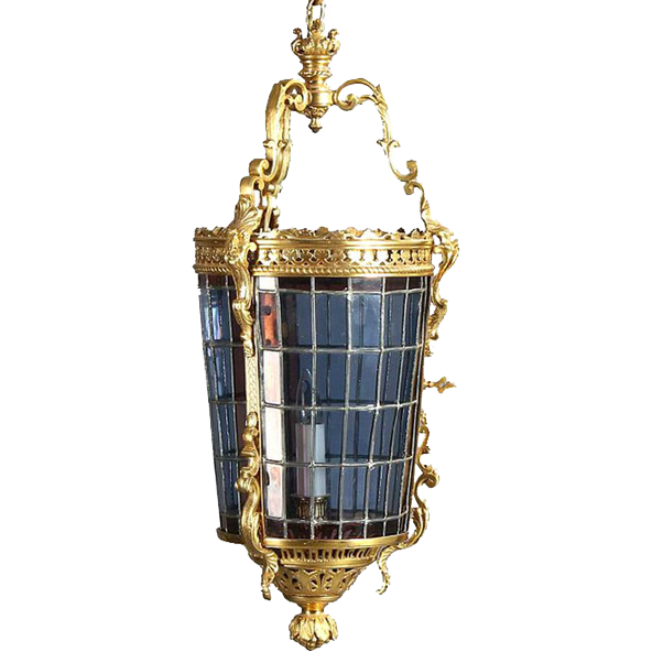 French Gilt Brass and Leaded Glass Hanging Hall Lantern