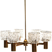 Swedish Brass and Orrefors Glass Shade Six-Light Chandelier
