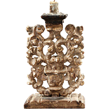 Italian Baroque Parcel Gilt Chestnut and Pine Candlestick