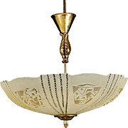 Swedish Art Deco Brass and Frosted Glass Bowl Ceiling Light