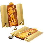 Pair of Swedish Mjolby Intarsia Birch Two-Light Sconces