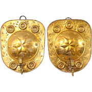 Pair of Swedish Brass Repousse One-Light Wall Candle Sconces