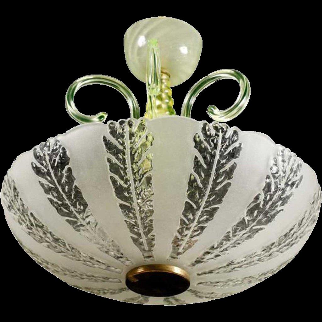 Swedish Art Deco Etched Glass Bowl Ceiling Light Fixture