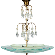 Swedish Art Deco Glass Bowl and Crystal Ceiling Light