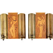 Pair of Swedish Mjolby Decoupeurfabrik Intarsia Two-Arm Candle Sconces