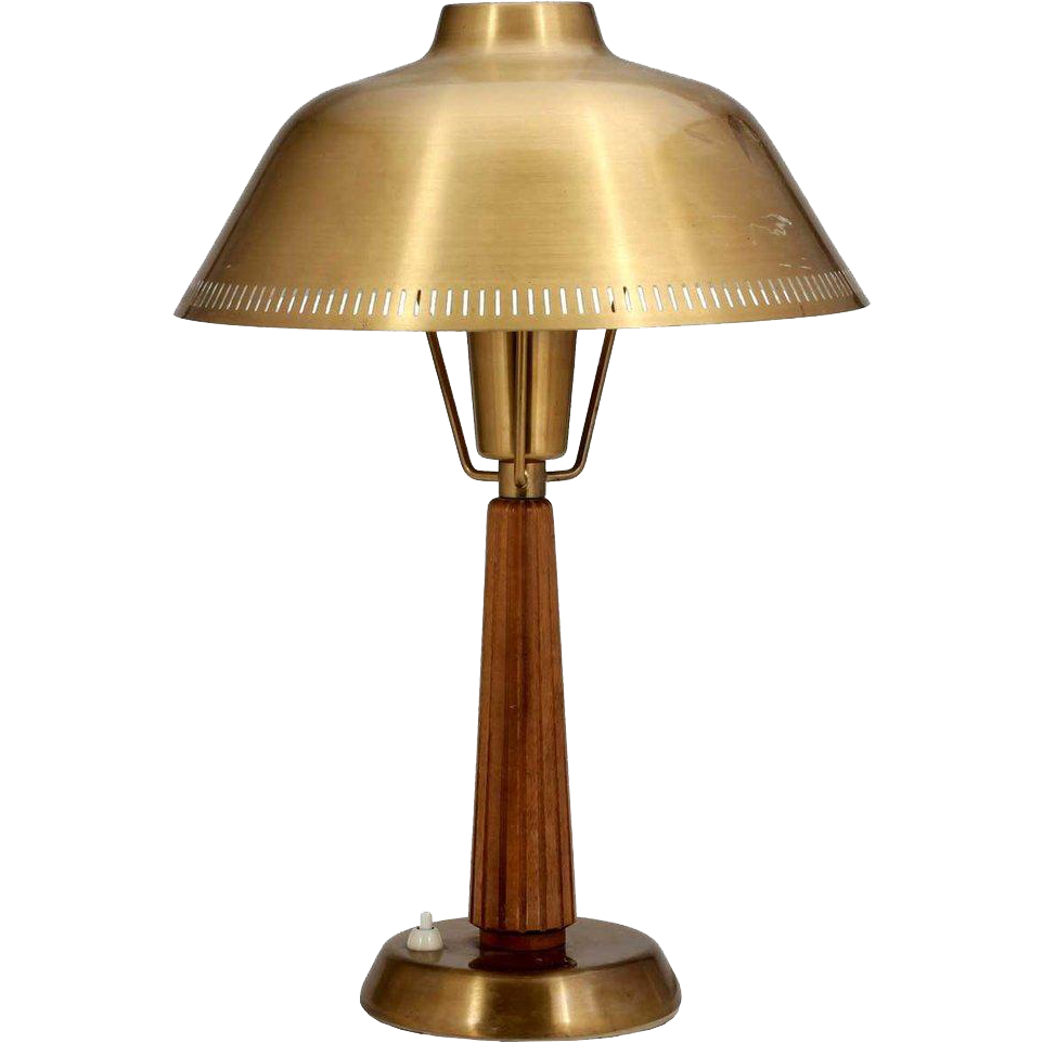 Swedish Asea Belysning Mid Century Modern Teak and Brass Table Lamp