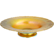 American Tiffany Art Nouveau Gold Favrile Art Glass Footed Dish