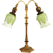 Gilt Bronze Two Light Lamp with Durand or Steuben Calcite Art Glass Shades