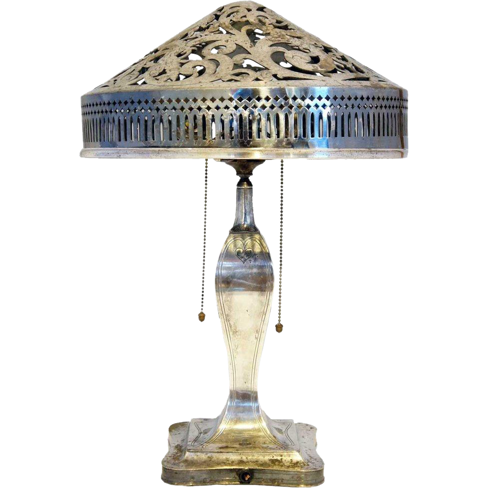 American Pairpoint Art Nouveau Silverplate Table Lamp